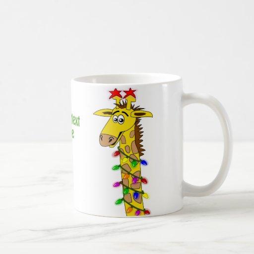 Funny Giraffe With Lights Whimsical Christmas Classic White Coffee Mug