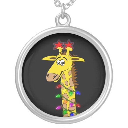 Funny Giraffe With Lights Whimsical Christmas Pendant