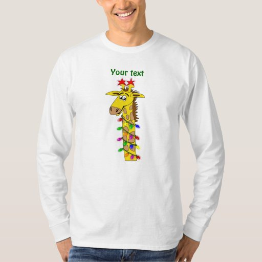 Funny Giraffe With Lights Whimsical Christmas T Shirt