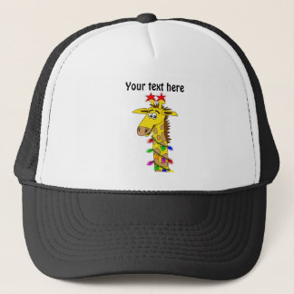 Funny Giraffe With Lights Whimsical Christmas Trucker Hat