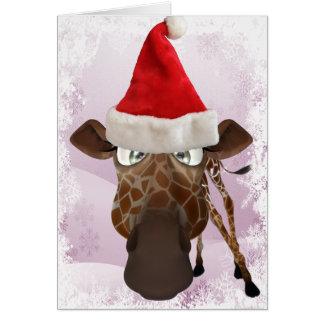 Funny Giraffe with Santa Hat Christmas Card