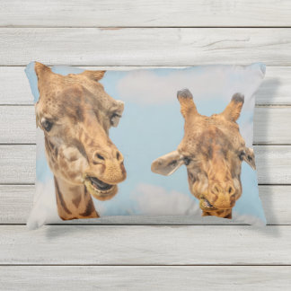 Funny Giraffes Outdoor Pillow