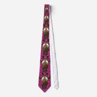Funny Giraffes Pink Faux Animal Fur Tie