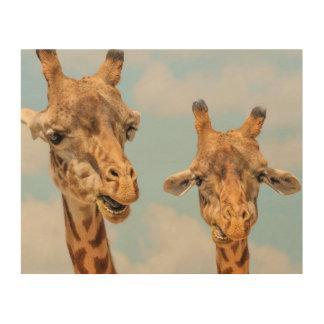 Funny Giraffes Wood Print