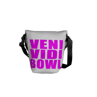 Funny Girl Bowling Quotes : Veni Vidi Bowl Courier Bags