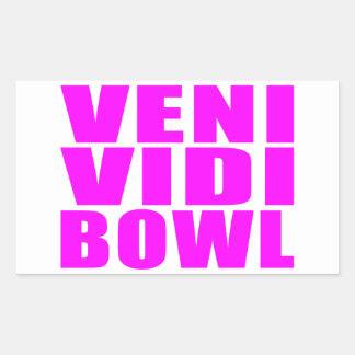 Funny Girl Bowling Quotes : Veni Vidi Bowl Rectangular Sticker