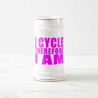 Funny Girl Cyclists Quotes  : I Cycle Therefore I 18 Oz Beer Stein