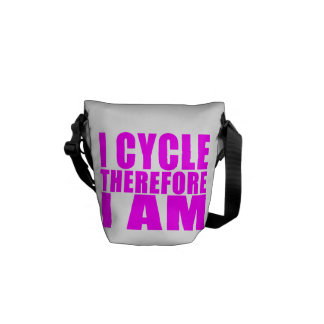 Funny Girl Cyclists Quotes  : I Cycle Therefore I Messenger Bag