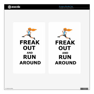 Funny girl Freak Out And Run Around Decals For Kindle Fire