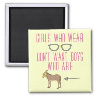Funny Girl Glasses Nerd Humor 2 Inch Square Magnet