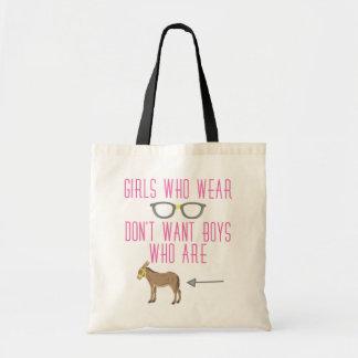 Funny Girl Glasses Nerd Humor Canvas Bags