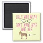 Funny Girl Glasses Nerd Humor Magnet