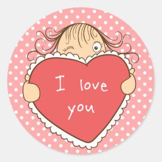 Funny girl holding heart  sticker