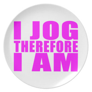 Funny Girl Joggers Quotes  : I Jog Therefore I am Dinner Plates