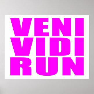 Funny Girl Running Quotes : Veni Vidi Run Poster
