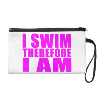 Funny Girl Swimmers Quotes : I Swim Therefore I am Wristlet Purses