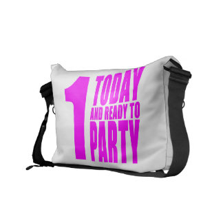 Funny Girls Birthdays  1 Today and Ready to Party Messenger Bag