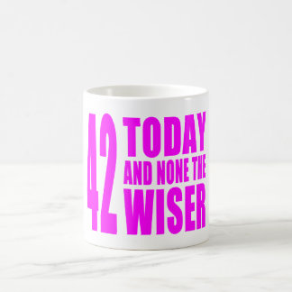 Funny Girls Birthdays  42 Today and None the Wiser Coffee Mug