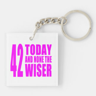 Funny Girls Birthdays  42 Today and None the Wiser Keychain