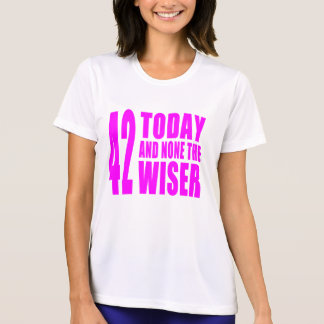 Funny Girls Birthdays  42 Today and None the Wiser T-Shirt