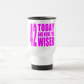 Funny Girls Birthdays  42 Today and None the Wiser Travel Mug