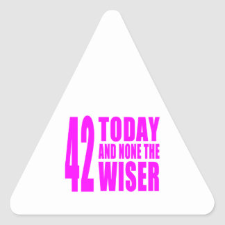 Funny Girls Birthdays  42 Today and None the Wiser Triangle Sticker