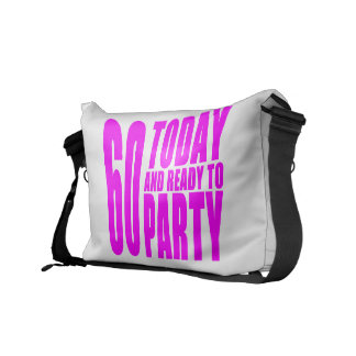 Funny Girls Birthdays  60 Today and Ready to Party Courier Bags