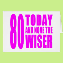 Funny Girls Birthdays  80 Today and None the Wiser Card