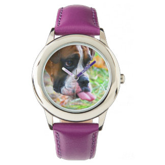 Funny Girls Boxer Dog Photo Tongue Out Watch