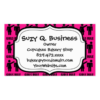 Funny Girls Rule Hot Pink Feminist Gifts Double-Sided Standard Business Cards (Pack Of 100)