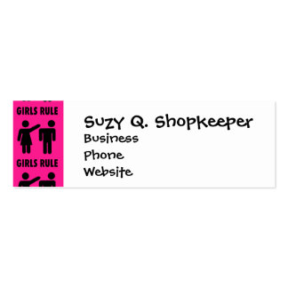Funny Girls Rule Hot Pink Feminist Gifts Double-Sided Mini Business Cards (Pack Of 20)