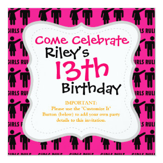 Funny Girls Rule Hot Pink Feminist Gifts 5.25x5.25 Square Paper Invitation Card