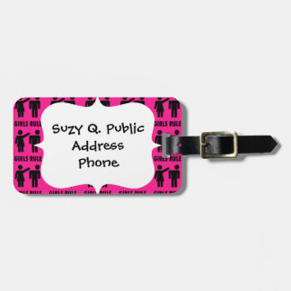 Funny Girls Rule Hot Pink Feminist Gifts Luggage Tag