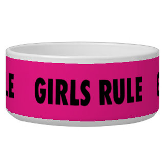 Funny Girls Rule Hot Pink Feminist Gifts Dog Food Bowl