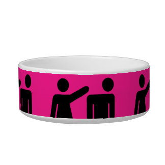Funny Girls Rule Hot Pink Feminist Gifts Pet Food Bowls