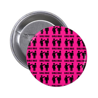 Funny Girls Rule Hot Pink Feminist Gifts Pinback Button