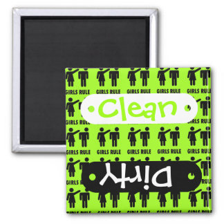 Funny Girls Rule Neon Lime Green Girl Power 2 Inch Square Magnet