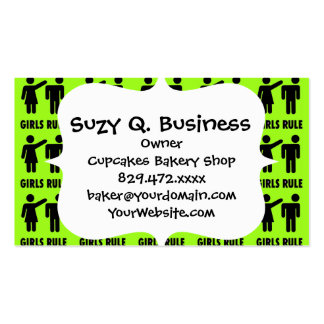 Funny Girls Rule Neon Lime Green Girl Power Double-Sided Standard Business Cards (Pack Of 100)