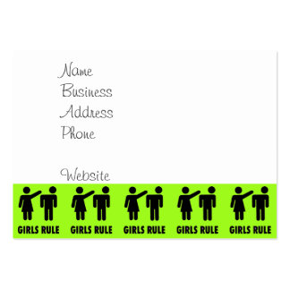 Funny Girls Rule Neon Lime Green Girl Power Large Business Cards (Pack Of 100)
