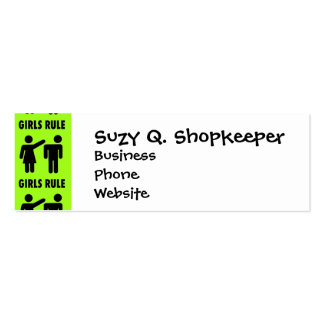 Funny Girls Rule Neon Lime Green Girl Power Double-Sided Mini Business Cards (Pack Of 20)