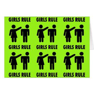 Funny Girls Rule Neon Lime Green Girl Power Card