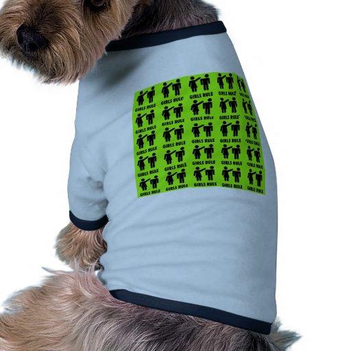 Funny Girls Rule Neon Lime Green Girl Power Dog Tee
