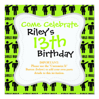 Funny Girls Rule Neon Lime Green Girl Power 5.25x5.25 Square Paper Invitation Card
