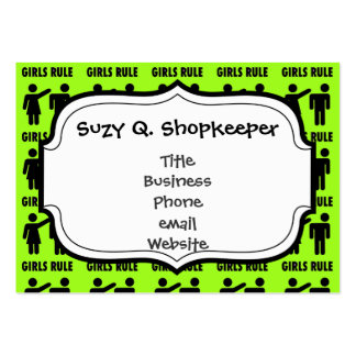 Funny Girls Rule Neon Lime Green Girl Power Large Business Card