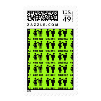 Funny Girls Rule Neon Lime Green Girl Power Postage Stamp