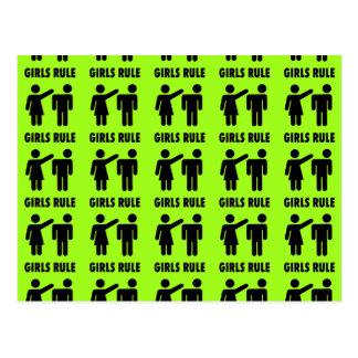 Funny Girls Rule Neon Lime Green Girl Power Postcard