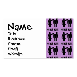 Funny Girls Rule Purple Girl Power Feminist Gifts Double-Sided Standard Business Cards (Pack Of 100)