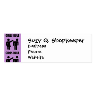 Funny Girls Rule Purple Girl Power Feminist Gifts Double-Sided Mini Business Cards (Pack Of 20)
