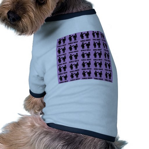 Funny Girls Rule Purple Girl Power Feminist Gifts Dog Tee Shirt