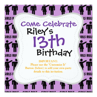 Funny Girls Rule Purple Girl Power Feminist Gifts 5.25x5.25 Square Paper Invitation Card